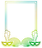 Color gradient frame with carnival masks. Royalty Free Stock Images