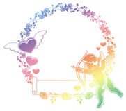 Color gradient frame with Cupid, roses and hearts. Copy space. R Stock Photography