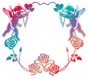 Color gradient frame with Cupid, roses and hearts. Copy space. R Royalty Free Stock Image