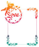 Color gradient frame with Cupid, roses and hearts. Copy space. R Stock Photo