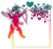 Color gradient frame with Cupid, roses and hearts. Copy space. R Royalty Free Stock Images