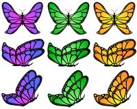 Color gradient patterned butterfly set. Royalty Free Stock Images