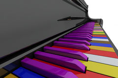 Color grand piano keys. Close up view Stock Photography