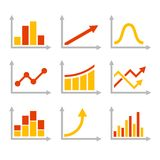 Color Graph Chart Icons Set. Vector Royalty Free Stock Images