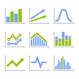 Color Graph Chart Icons Set on White Background. Vector. Illustration Royalty Free Stock Photo