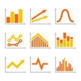 Color Graph Chart Icons Set on White Background. Vector. Illustration Stock Images
