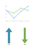 Color graph with rising profits lines with two arrows Stock Photography
