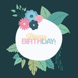 Color green background with circular frame with decorative flowers and text happy birthday inside. Vector illustration Stock Photo