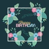 Color green background with square frame with decorative flowers and text happy birthday inside. Vector illustration Royalty Free Stock Image
