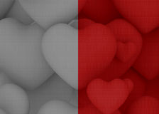 Color and grey background with multiple red heart Stock Image