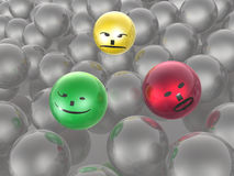 Color and grey spheres Royalty Free Stock Photo