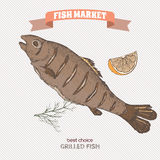 Color grilled fish hand drawn sketch. Great for markets, grocery stores, organic shops, food label design Royalty Free Stock Photo