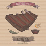 Color grilled ribs sketch placed on cardboard background. American cuisine. Traditional dishes series. Great for market, restaurant, cafe, food label design Stock Photography