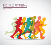 Color group people business running. Royalty Free Stock Images