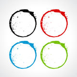 Color grunge circles set Stock Images