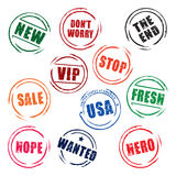 Color  grunge stamps STOP, FREE, SALE, USA, NEW, HOPE Stock Photos