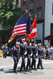 The Color Guard of the New York Police Department during at LGBT Pride Parade in New York Stock Photos