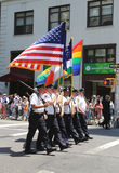 The Color Guard of the New York Police Department during at LGBT Pride Parade in New York Stock Photography