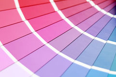 Color guide. Close-ups of color guide with pink dominate royalty free stock photos