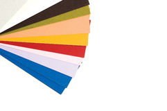 Color guide. Bright colorful sheets of paper stock photography
