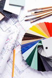 Color Guide, Brushes and Pencil on Blueprint Royalty Free Stock Photos