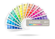 Color guide calendar 2017. Colorful charts samples isolated on white background. Rainbow paper hand fan. Vector illustration.  Royalty Free Stock Photos