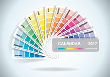 Color guide calendar 2017. Colorful charts samples. Rainbow paper hand fan. Stock Photography