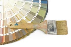 Color guide with indoor colors and paintbrush Royalty Free Stock Image