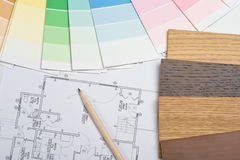 Color guide, material samples and blueprint Stock Image