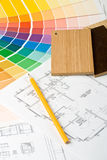 Color guide, material samples and blueprint Royalty Free Stock Photo
