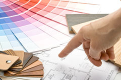 Color guide, material samples and blueprint Royalty Free Stock Image