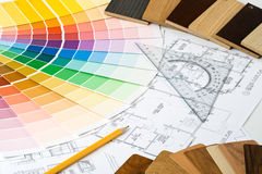 Color guide, material samples and blueprint Stock Photos