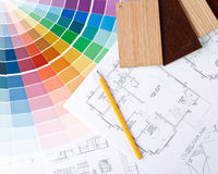 Color guide, material samples and blueprint Stock Images