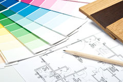 Color guide, material samples and blueprint Royalty Free Stock Images