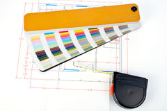 Color guide and measuring tape Royalty Free Stock Photography