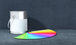 Color guide. One color guide with a tin on dark background (3d render Royalty Free Stock Images