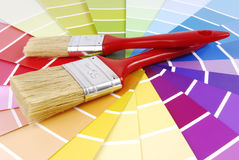 Color guide sampler and paint brush Stock Images
