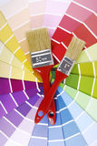 Color guide sampler and paintbrush Royalty Free Stock Image