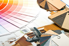 Color guide,  samples of materials and catalogue Stock Photos