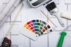 Free Color Guide Swatch On Blueprints Royalty Free Stock Photo - 214036195