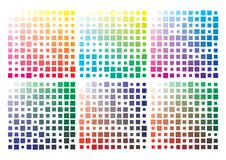 Vector color palette on A4 format. Paper size 297 x 210 mm. Details chaotically scaled vector illustration