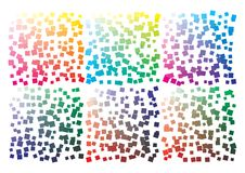 Vector color palette on A4 format. Details chaotically scattered. Vector color palette on A4 format, paper size 297 x 210 mm. Details chaotically scattered royalty free illustration