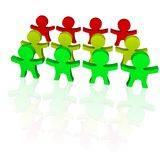 Color guys 3d. Some guys in diffrent colors: green,yellow,red Royalty Free Illustration