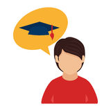 Color half body man and bubble speech with graduation hat. Vector illustration Stock Photography