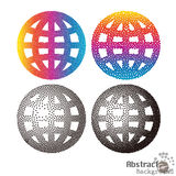 Color halftone and black stippling globe sign icon. World symbol Royalty Free Stock Photography