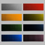Color halftone dot pattern banner background template design set - horizontal rectangle vector illustrations. With circles in varying sizes Stock Photo