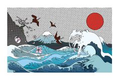 Color Halftone Fuji Mountain Background.Hand Drawn Japanese Art Fuji Mountain With Heron Bird And Ocean Wave. Stock Photography