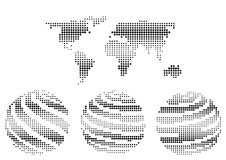 Color halftone world map and globe icons. Black and white color halftone world map silhouette and earth globe icons  on white background Royalty Free Stock Images