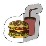 Color hamburger and soda flat icon. Illustraction design Stock Photo