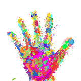 Color hand. Vector illustration, hand-colored spots Stock Photos